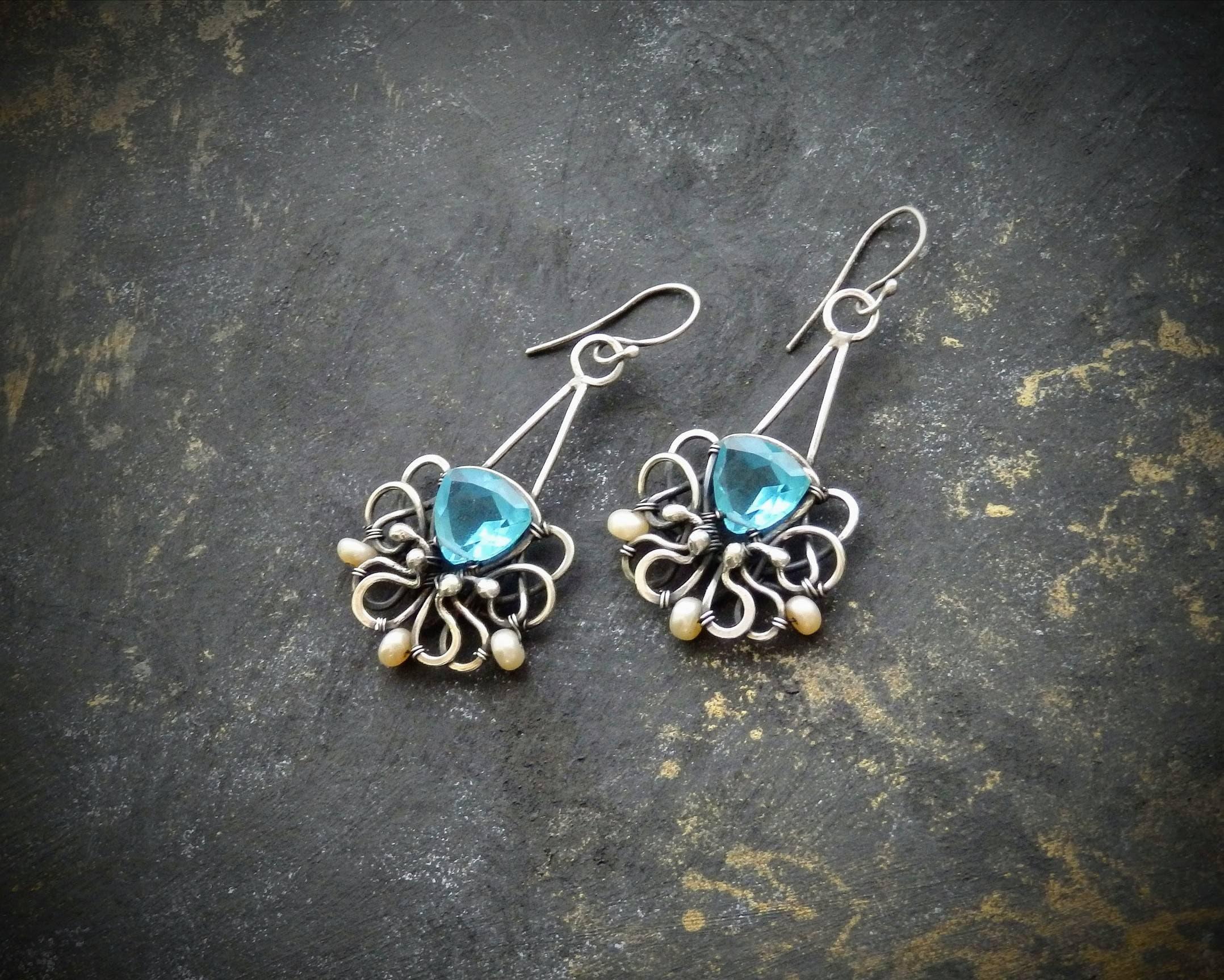Стерлинг серебряные серьги с небесно-голубой кварц, проволока завернутые серьги