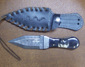 Mini Gladius Custom Handmade knife with Damascus Steel Double Edged Toothpick Style Blade with heavy duty custom leather sheath