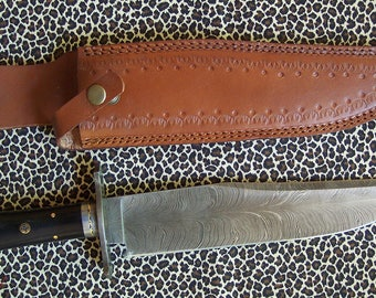 Palm pattern Damascus steel Durango style Bowie knife with file work handle and heavy duty top grain leather sheath