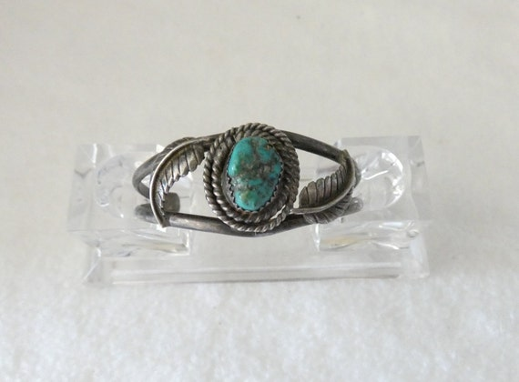 Vintage sterling turquoise children's cuff bracele