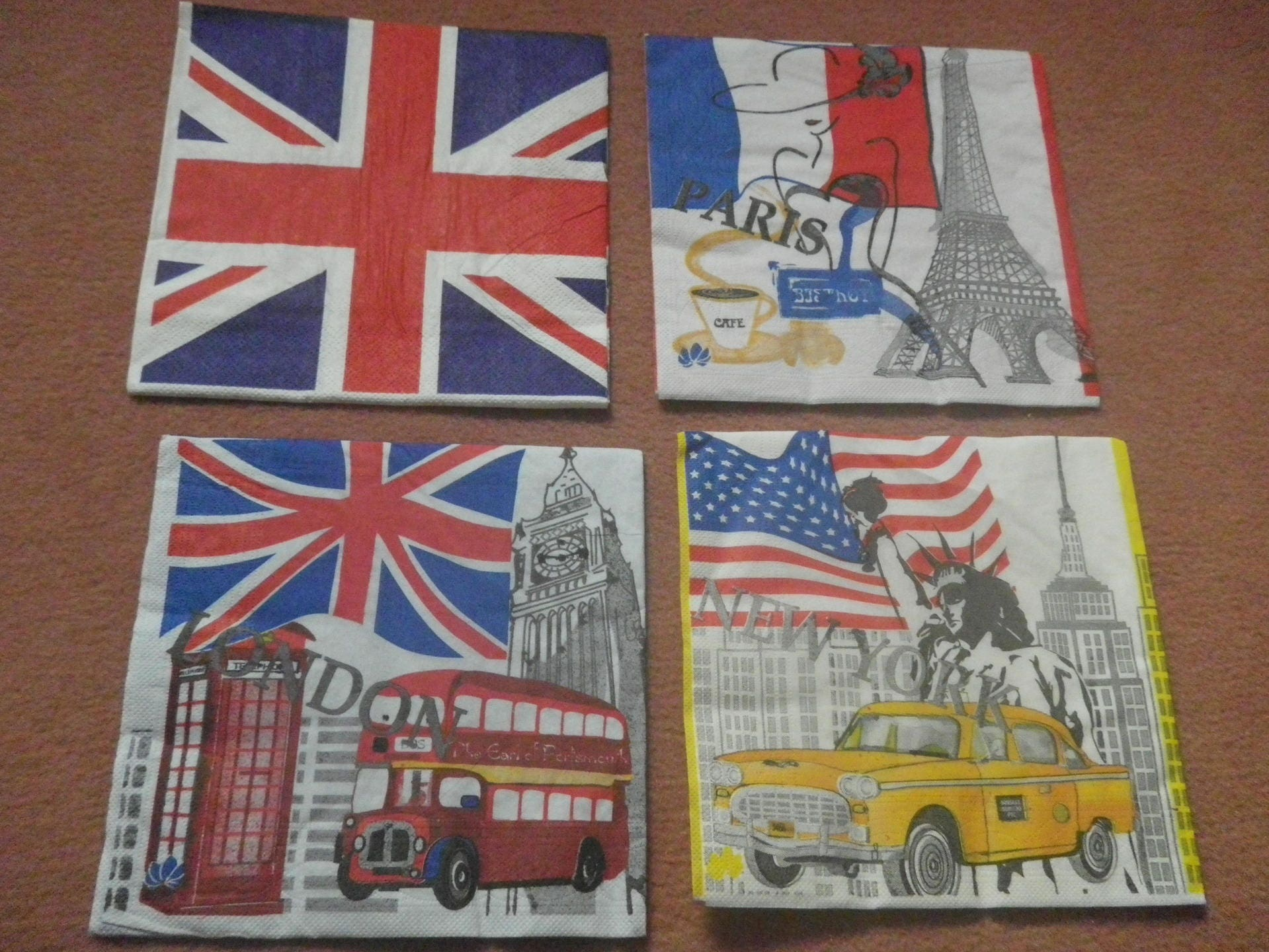 lot de 4 serviettes papier london pour collage etsy. Black Bedroom Furniture Sets. Home Design Ideas