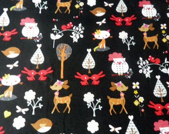 animal fabric of the forest and the House on a black background