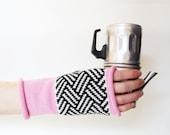 Knit wool gloves Knit fingerless gloves Knit wool glovelets 100% merino wool gloves Knit geometric gloves Pink knit gloves, gift for her
