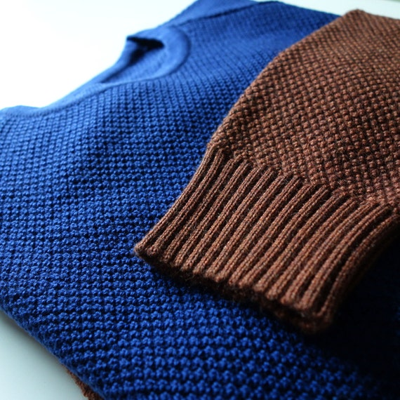 Knitted wool sweater for him gift sleeves brown sweater men and stitch pattern neck sweater for wool moss crew raglan blue merino 100 nE0RrE