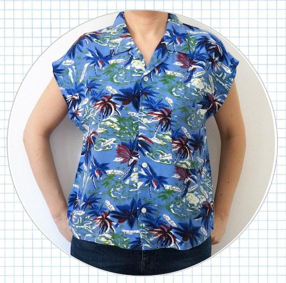 comprare on line c0bf3 99403 camicia hawaiana da donna, camicia vintage da donna