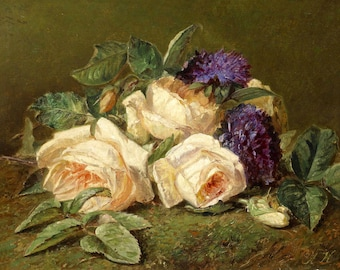 Roses and Violets - Counted cross stitch pattern in PDF format