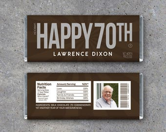 HAPPY 70TH Personalized Candy Bar Wrappers Printable Birthday Hersheys With PHOTO Name Text Party Favors Gift Or Tag