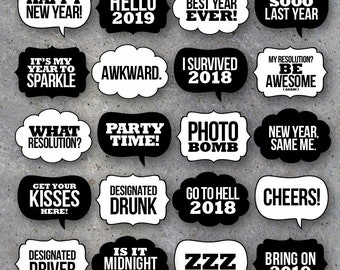 new years eve talk bubbles photo booth props collection printable speech bubbles black white backgrounds includedfun diy party ideas