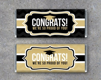 graduation thank you candy bar wrappers in black and gold etsy