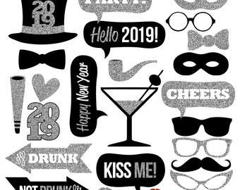 2019 new years eve photo booth props collectionprintable instant download black silver glitter photobooth props for new years eve party