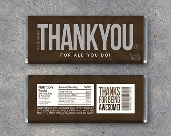 """EMPLOYEE APPRECIATION GIFT – Printable """"Thank You"""" Candy Bar Wrappers Instant Download – Co-worker Employee Appreciation Day Thank You Gift"""