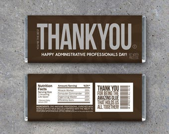Administrative Professionals Day Gift Printable THANK YOU Candy Bar Wrappers Instant Download Assistant Or Secretary