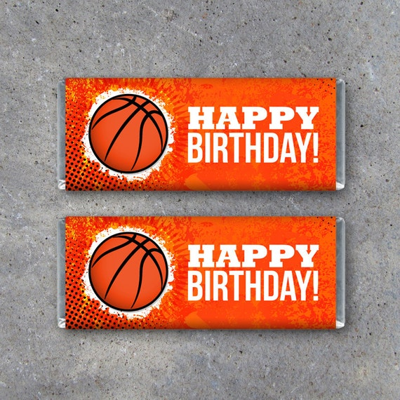 Basketball Happy Birthday Candy Bar Wrapper Printable Instant