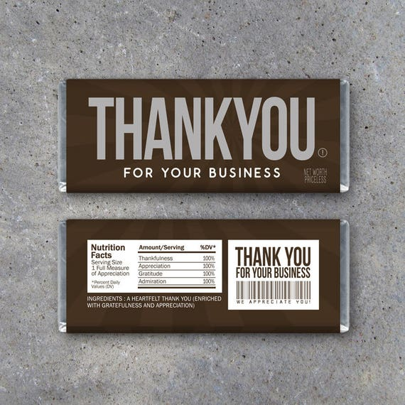 THANK YOU For Your Business Candy Bar Wrapper Printable Business