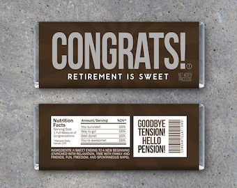 Retirement Candy Bar Wrappers – Printable Instant Download - Congratulations Happy Retirement Party Favors - CONGRATS Hershey Bar Gift Idea