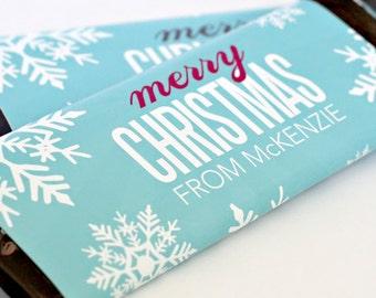 Merry Christmas Candy Bar Wrappers – Personalized Candy Wrappers – Christmas card – Gift tag – School Treats – Candygram – Winter Wonderland
