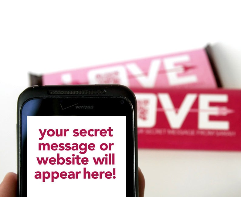 LOVE QR Code Candy Bar Wrapper – Personalized Hershey's Candy Bar Wrappers  – Hi Tech Valentines – Gift tag – School Valentines – Candygram