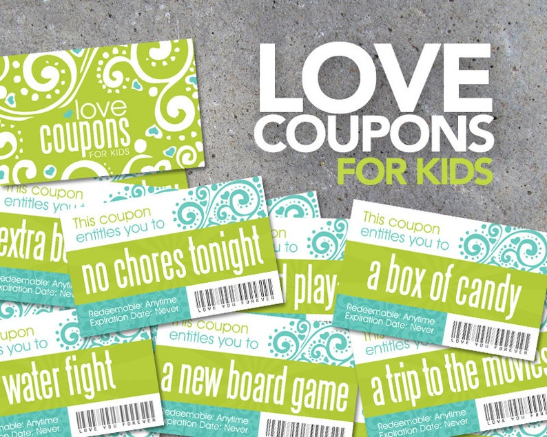 Love Coupons FOR KIDS  Printable Instant Download  Printable image 0