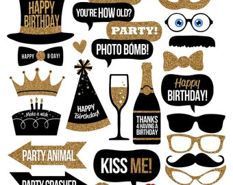Birthday Photo Booth Props Collection - Printable Instant Download with BONUS Glitter Banner & DIY Blank Talk Bubbles - Birthday Party Decor