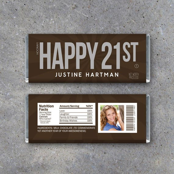 HAPPY 21ST Personalized Candy Bar Wrappers