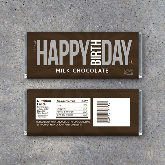 This is a picture of Free Printable Birthday Candy Bar Wrappers throughout miniature