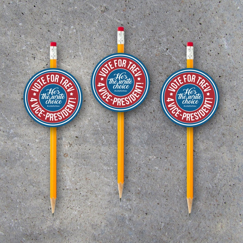 Campaign Election Pencil Topper Tags – Printable 2 5