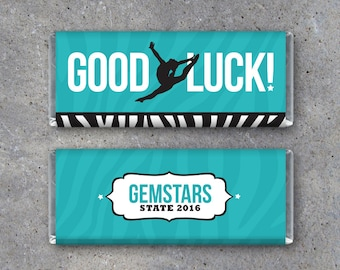 Dance GOOD LUCK Candy Bar Wrapper–Printable Personalized Hershey's Wrapper with your team colors & message–Gifts for recitals + competitions