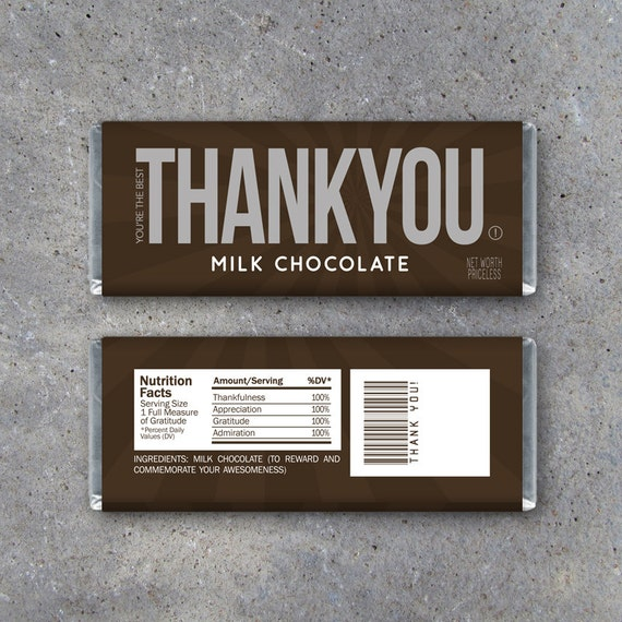 Thank You Candy Bar Wrappers Printable Instant Download Etsy