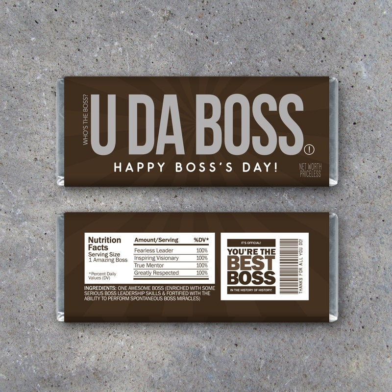 Boss's Day Gift Printable Happy Bosses Day Candy Bar | Etsy
