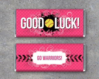 Softball GOOD LUCK Personalized Candy Bar Wrapper – DIY Printable Hershey's Wrapper w/ team colors & message–Softball Gifts or Locker Treats