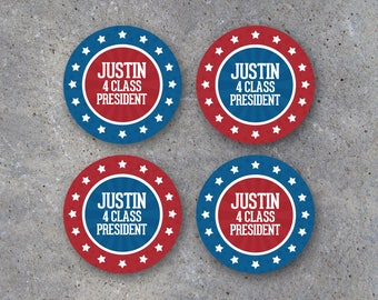 """Election Campaign Tags – Printable 2.5"""" Circle Tags, Cupcake Toppers or Stickers Personalized w/ Name & Title for DIY Campaign VOTE Giveaway"""