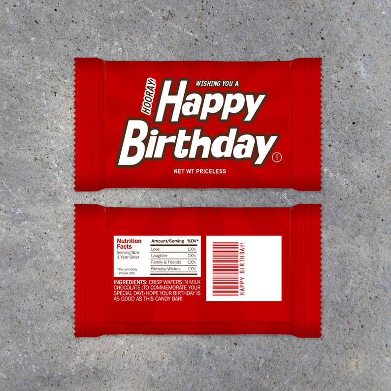 happy birthday candy bar wrappers printable instant