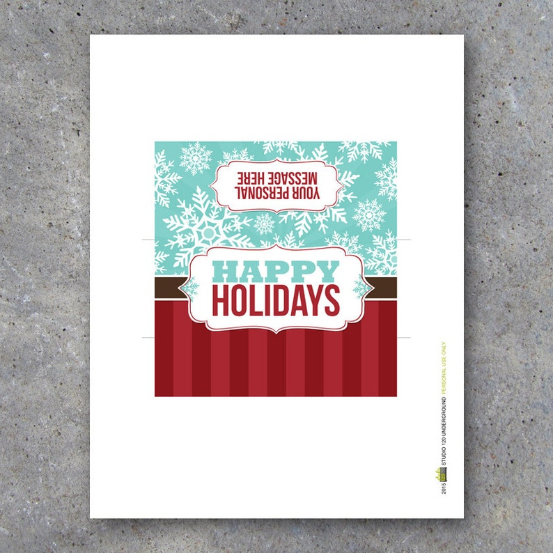 Happy Holidays OR Merry Christmas Candy Bar Wrappers\u2013Printable personalized wrappers with your personal message\u2013Party favors cards /& gifts