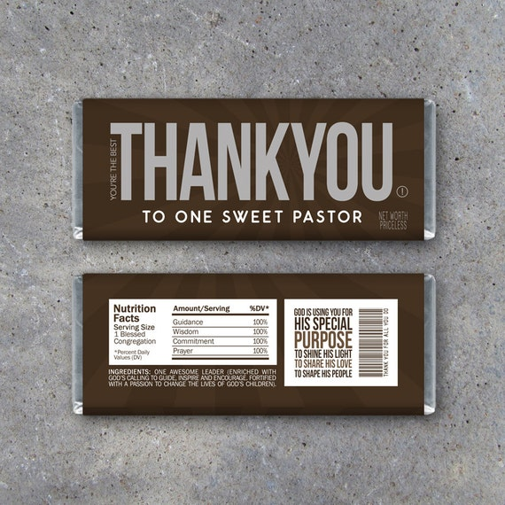THANK YOU Pastor Appreciation Candy Bar Wrappers Printable Etsy