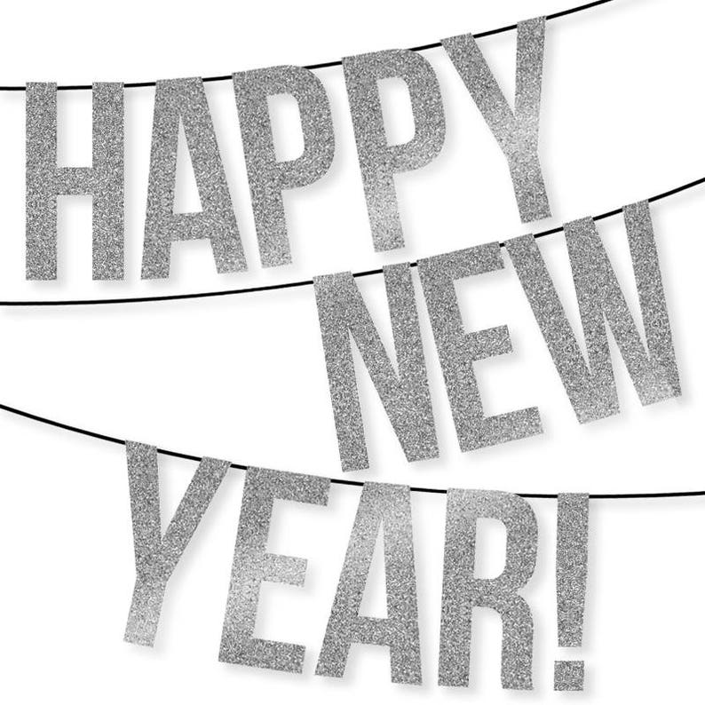 image about Happy New Years Banner Printable named Pleased Refreshing Yr Banner Instantaneous Down load Printable Information Silver Glitter Client Letters Quantities Pennant Bunting Garland Decor