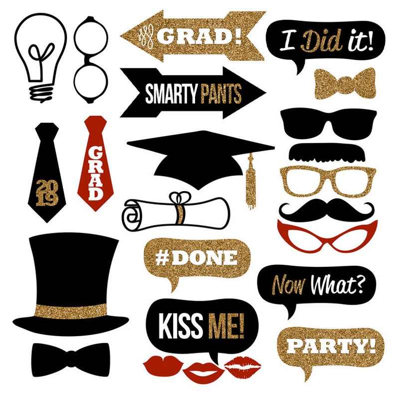 graphic relating to Printable Graduation Photo Booth Props identified as Commencement Picture Booth Props Assortment 2019 Printable Fast Down load  Black Gold Glitter Picture Booth Props for Commencement Events!
