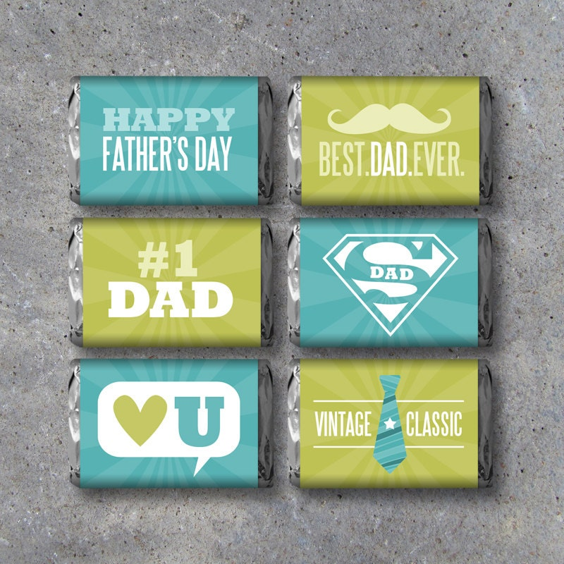 Happy Father's Day Mini Candy Bar Wrappers Instant