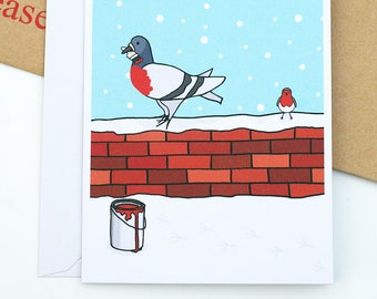 Pigeon and Robin Christmas Illustration A6 Greetings Card