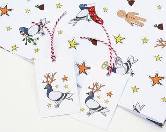 Pigeon Illustration Christmas Gift Wrap - Christmas Wrapping Paper - Mistletoe, Gingerbread man, Angel Reindeer, Stocking