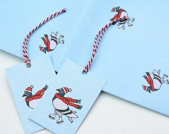 Ice Skating Pigeon Illustration Christmas Gift Wrap - Christmas Wrapping Paper