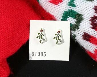 Christmas Mistletoe Illustration Shrink Plastic Studs