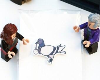 Dr Coo Pigeon Illustration Lapel Pin Inspired by the 8th Doctor (Dr Who)