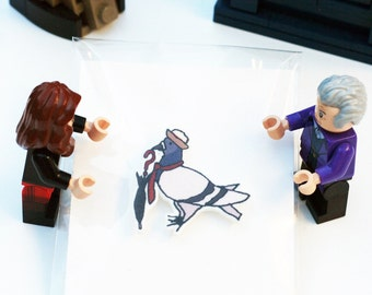 Dr Coo Pigeon Illustration Lapel Pin - Inspired by the 7th Doctor (Dr Who)