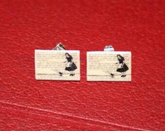 Classic Literature - Alice in Wonderland Silhouette Illustration Shrink Plastic Stud Earrings.