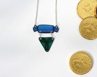 Christmas Chocolate Illustration 2-Tier Shrink Plastic Necklace
