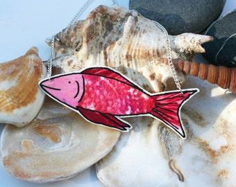 Fish Illustration Shrink Plastic Necklace (Pink)