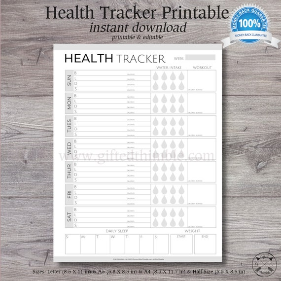 graphic about Printable Calorie Counter known as Exercise Tracker Printable Evening meal Planner Calorie Counter Letter Sizing A5 Dimension Menu Creating Printable Monetary Back again Make certain