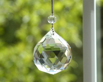 Large Hanging SunCatcher Sun Catcher Rose Quartz Crystal 40mm 1.6 Round Window Cut Crystal Prism Whimsical Rainbow Maker Zen Feng Shui 216
