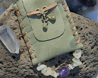 Small Magical Medicine Crystal Pouch Bag Necklace #27 BOHO Native American & South Indian Earthy Amulet Primitive Keepsake Spell Prayer