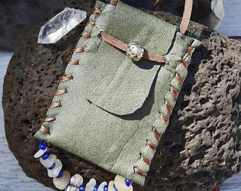 Handmade Magical Medicine Crystal Pouch Bag Necklace #24 BOHO Native American & South Indian Earthy Amulet Primitive Keepsake Spell Prayer